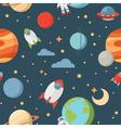 Seamless children cartoon space pattern vector image