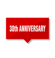 30th anniversary red tag vector image