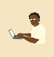 abstract portrait african man using laptop afro vector image vector image