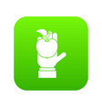 apple in hand icon digital green vector image vector image