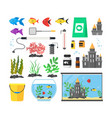 aquarium with fish blue water and equipment set vector image vector image