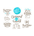 around world doodle style isolated on white vector image