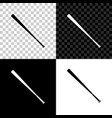 baseball bat icon isolated on black white and vector image