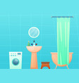 bathroom interior with tub and curtain washing vector image