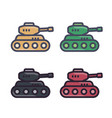 Battle tank icons in flat style