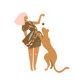 beautiful woman in brown dress playing with wild vector image vector image