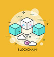 blockchain thin line concept vector image vector image