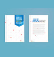 blue cover annual report brochure flyer template vector image vector image