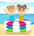brother and sister swimming in inflatable pool vector image vector image