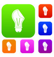 bulb sticker set color collection vector image vector image