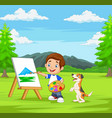 cartoon boy painting with his pet in park vector image vector image