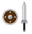 cartoon sword and shield isolated on white vector image