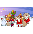 christmas santa claus cartoon group vector image