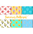 collection of summer colorful patterns vector image vector image
