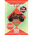 Color vintage quad bike poster vector image vector image