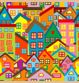colorful seamless pattern with cartoon houses vector image vector image