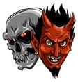 demon devil and skull head vector image vector image