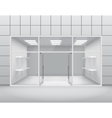 Empty shop front boutique window and open door 3d
