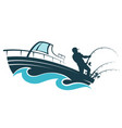 fisherman on a motor boat vector image vector image