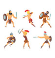 gladiators holding swords fighting characters vector image