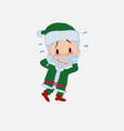 green santa claus pleasantly surprised vector image vector image