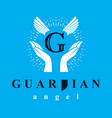 guardian angel conceptual emblem best for use in vector image