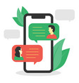 guy chatting with a girl on a smartphone vector image vector image
