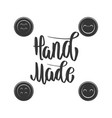 handmade emblem template with buttons design vector image vector image