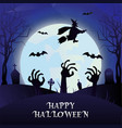 happy halloween moon cartoon zombie hand bat witch vector image