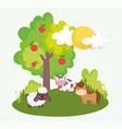 horse sheep cow tree apples field farm animals vector image