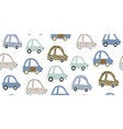 kids handdrawn seamless pattern with colorful cars vector image vector image