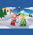 kids skiing vector image vector image