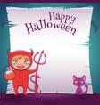 little kid in costume devil with black kitten vector image vector image