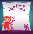 little kid in costume of devil with black kitten vector image vector image