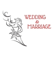 Marriage background with bride girl silhouette vector image