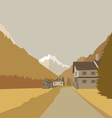 Mountain village background vector image vector image