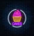 neon glowing sign of cake with cream and cherry vector image