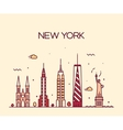 New York City skyline silhouette line art style vector image