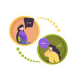 phone dialogue two persons smartphone vector image vector image