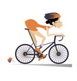 pretty young woman rides a bike isolated vector image vector image