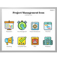project management icons linecolor pack vector image vector image