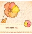 Red orange and yellow flowers greeting card vector image