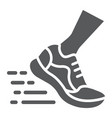 running fast glyph icon footwear and sport shoes vector image vector image