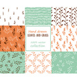 set seamless patterns grass and leaves vector image vector image