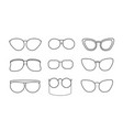 set with eyeglasses isolated icons retro and vector image vector image