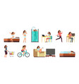 smiling happy woman in everyday life active girl vector image