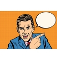 speaker businessman pointing finger pop art retro vector image vector image
