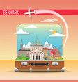 suitcase with landmarks denmark vector image