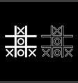 tic tac toe game icon set white color flat style vector image