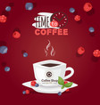 time to coffee logo cup aromatic drink vector image